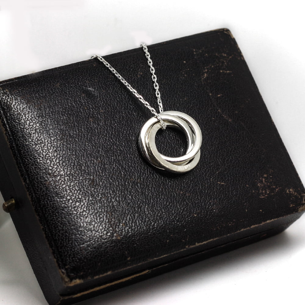 Handmade Entwined Silver Halo Necklace