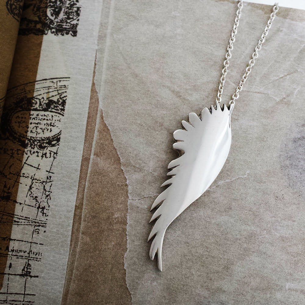 Large Single Angel Wing Necklace, Handmade in Sterling Silver