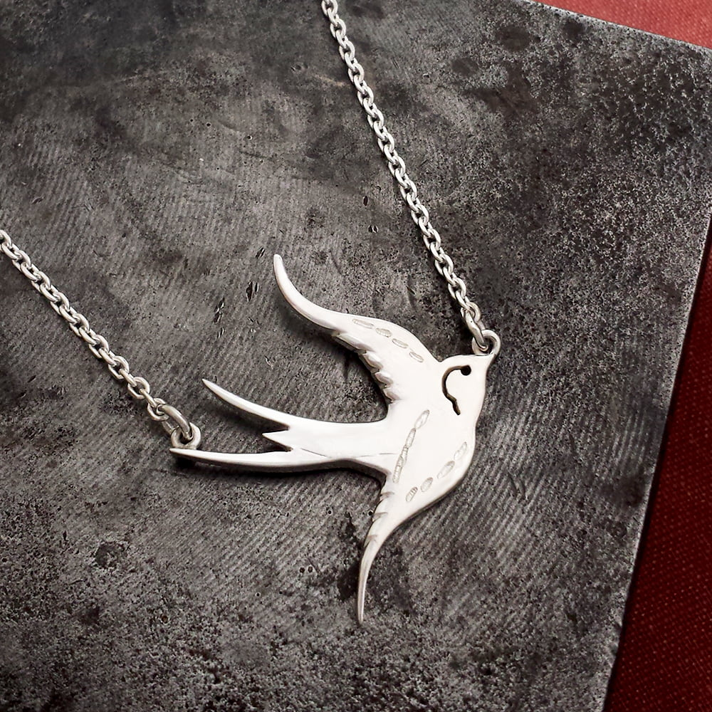 Engraved Swallow Necklace, Handmade in Sterling Silver