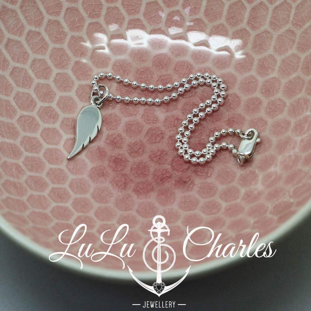 Dainty Angel Wing Charm Bracelet, handmade in Sterling Silver