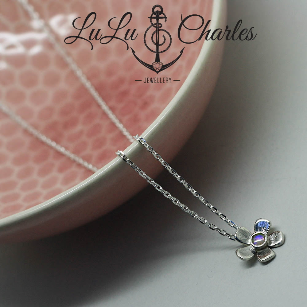 Opal October Birthstone Flower Necklace is handmade in sterling silver