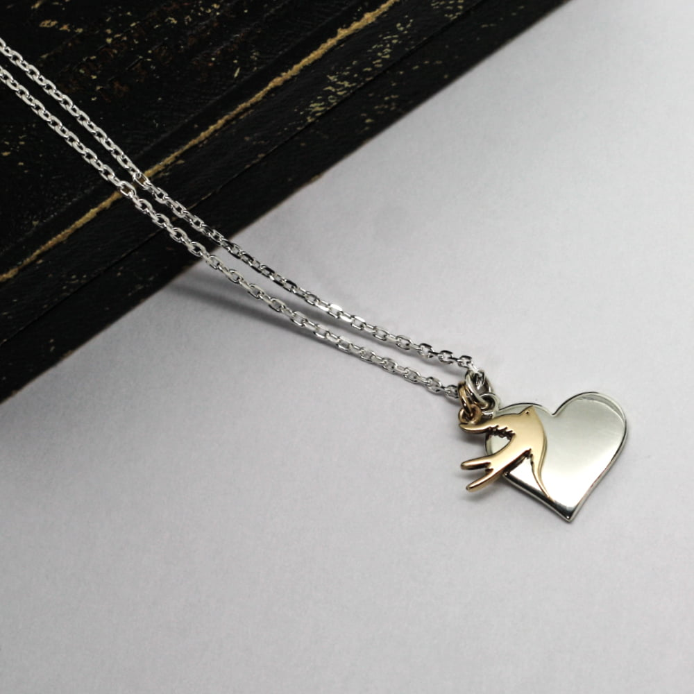 9ct Gold Swallow Charm & Silver Heart Necklace