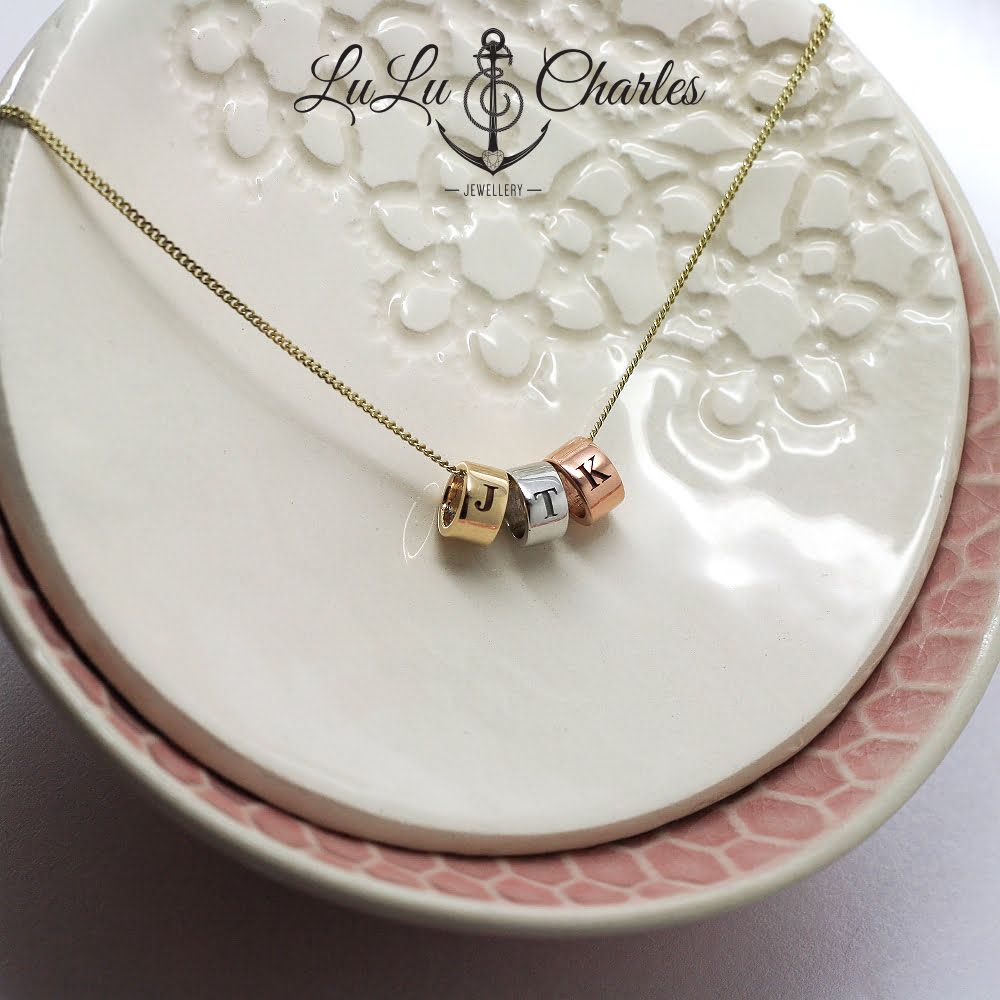 9ct Mixed Gold Personalised Tri Halo Necklace
