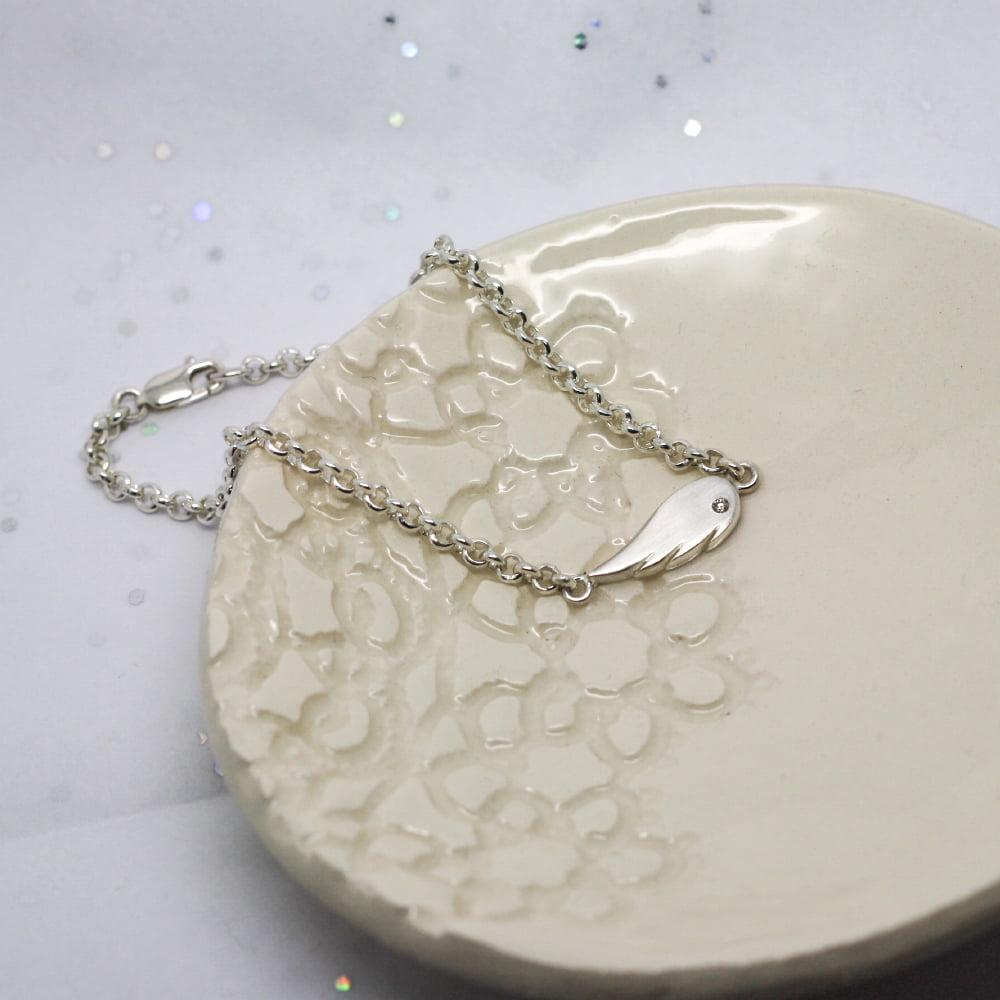 Handmade Silver Angel Wing Bracelet
