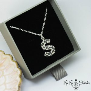 Handmade Sterling Silver Leopard Print Initial Pendant & Chain