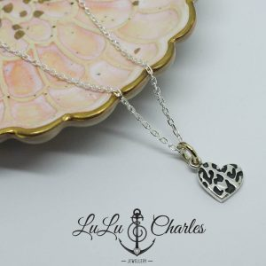 Handmade Sterling Silver & 9ct Yellow Gold Leopard Print Heart Pendant & Chain