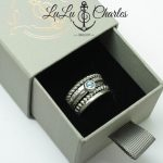 Sterling Silver Textured & Twisted, Swiss Blue Topaz Stacking Rings