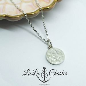 Handmade Sterling Silver Hammered Disc Necklace