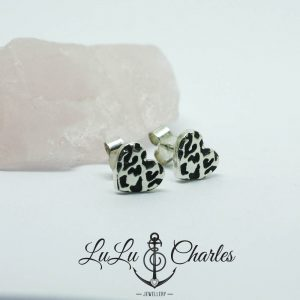 Leopard Print Wild At Heart Stud Earrings, Handmade in Sterling Silver