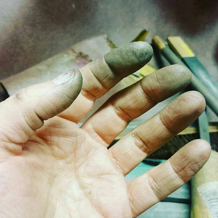 Hands of a jeweller, by Lulu & Charles Handmade Jewellery based in County Durham Uk