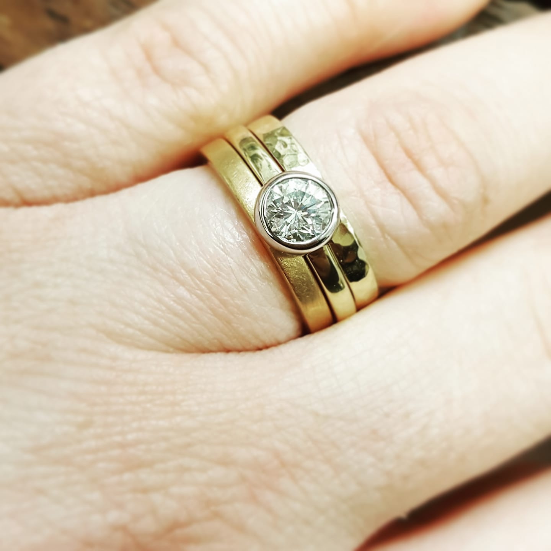 Handmade 18ct Diamond engagement ring and wedding stacker band UK, Handmade Remodelled Wedding Bands by LuLu & Charles Jewellery