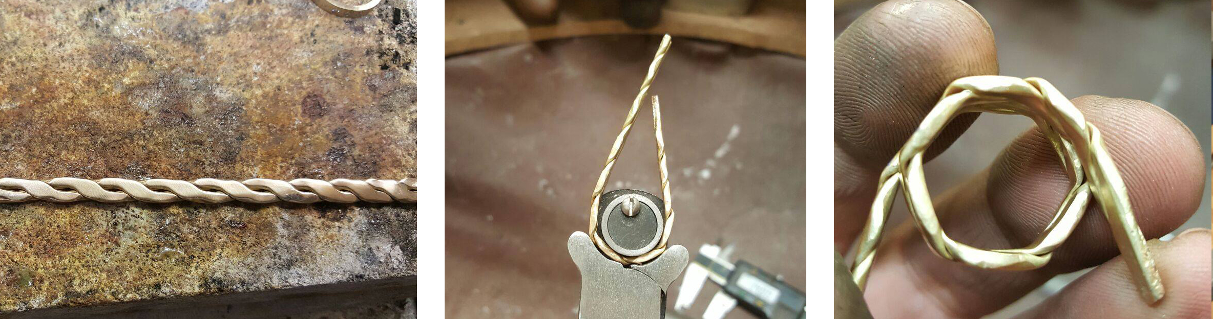A few behind the scene photos of two sentimental gold rings becoming one, handmade by LuLu & Charles Jewellery