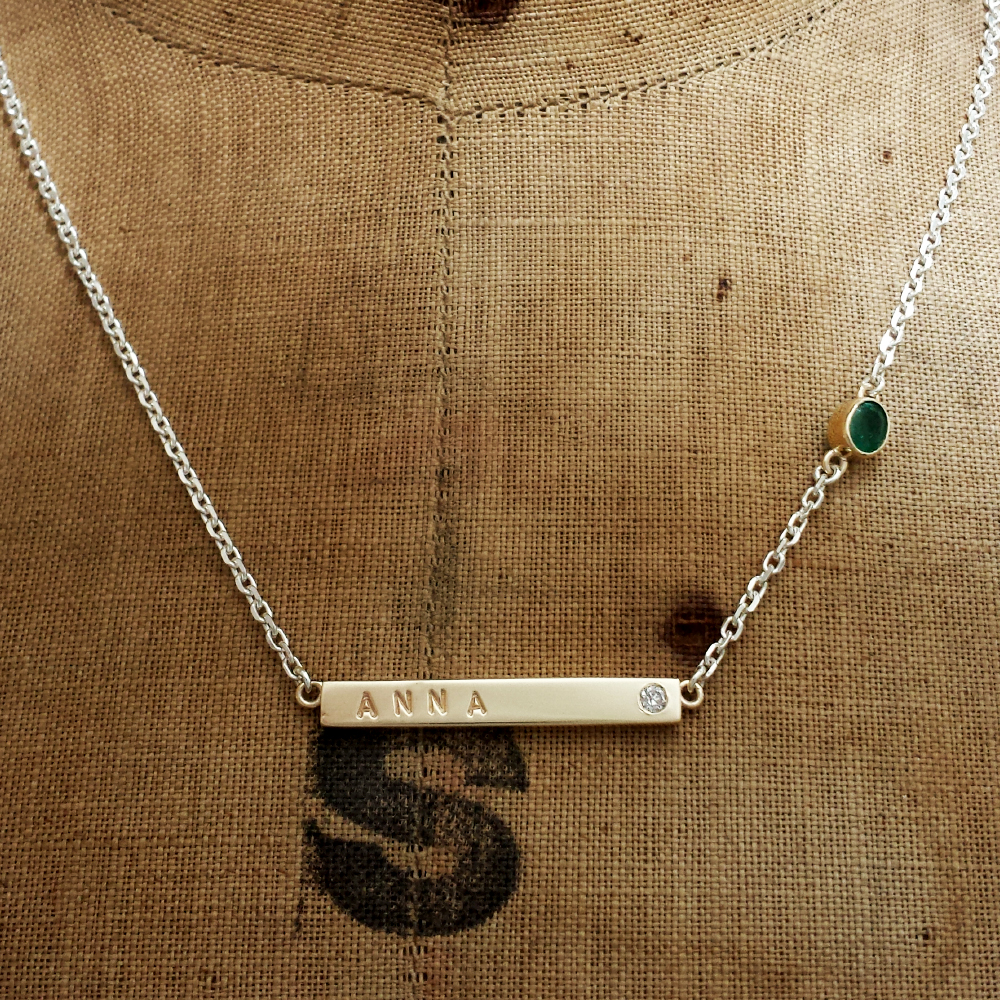 Handmade 9ct Gold Name Bar Necklace, handmade using customers old gold. We specialise in remodelling old jewellery, which you may have lying unworn or broken in your jewellery box. Sentimental gold can always be recycled into something new, by Lulu & Charles Jewellery