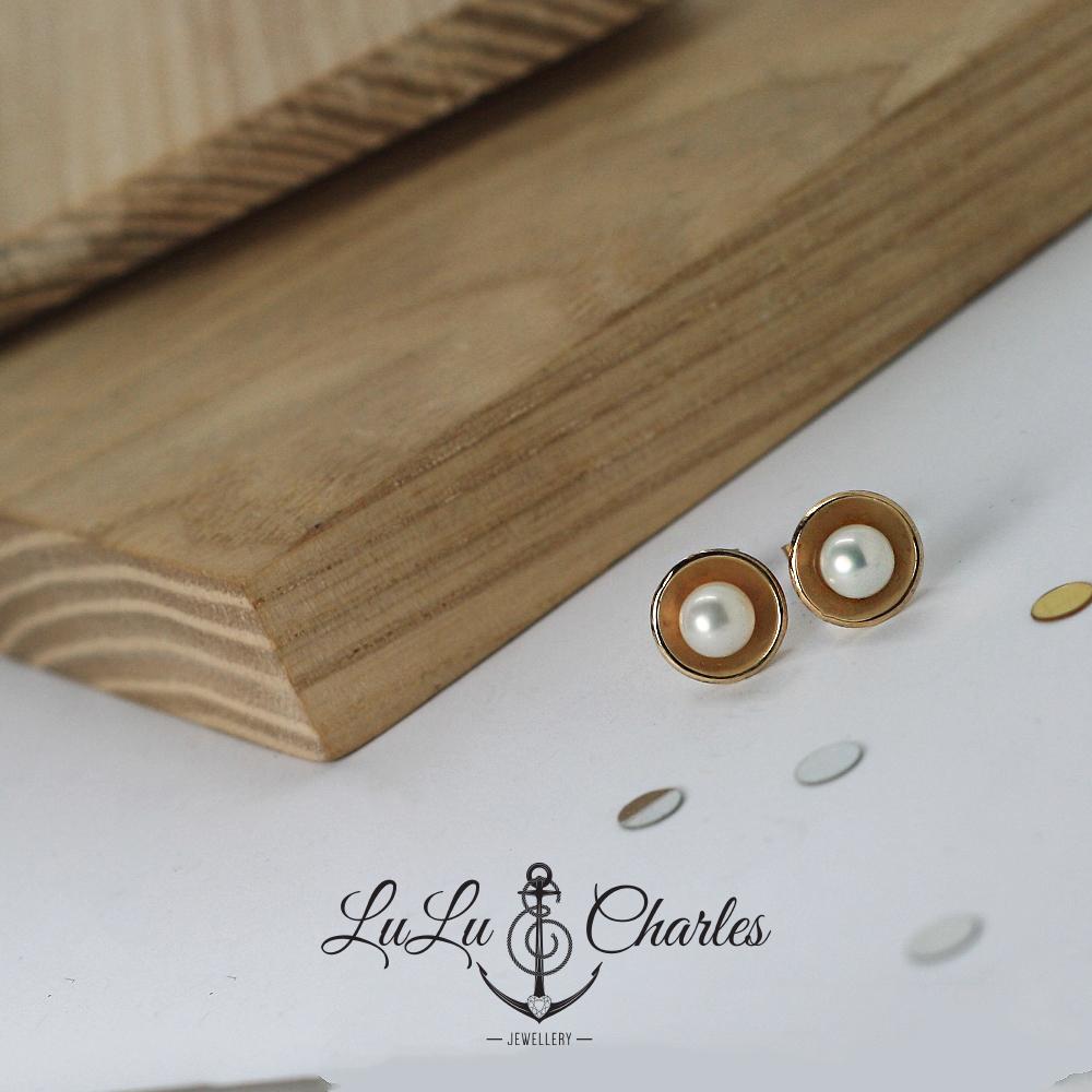 Handmade 9ct yellow gold pearl stud earrings, remodelled using sentimental gold jewellery by LuLu & Charles Jewellery, UK.