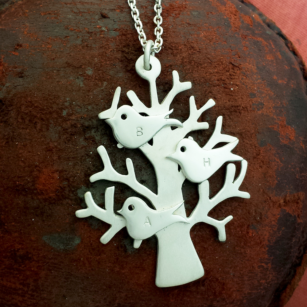 Handmade Sterling Silver Personalised Family Tree Necklace, with three hand stamped birds, personalised with family's initials or children's initials.