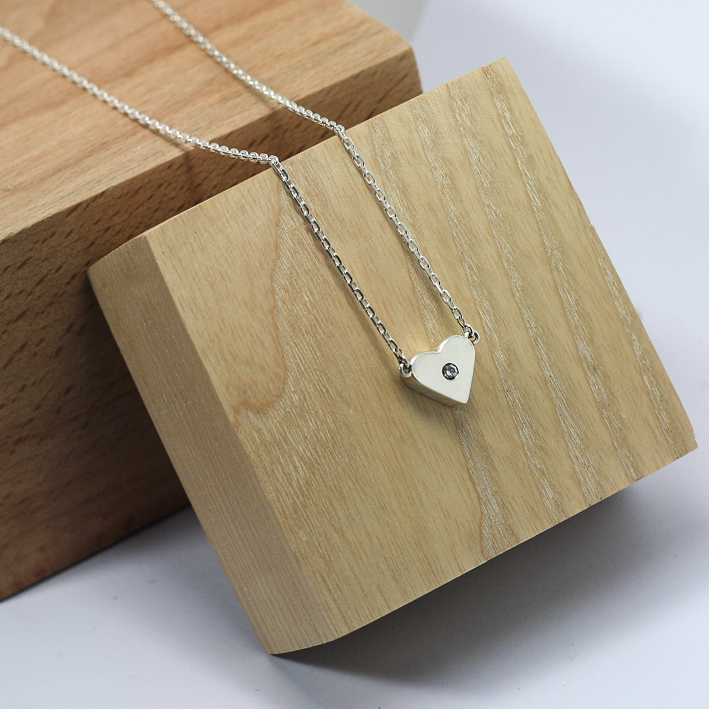 Handmade Sterling Silver Pet Memorial Heart Necklace, Cremation Ashes Necklace, handmade by LuLu & Charles Jewellery uk