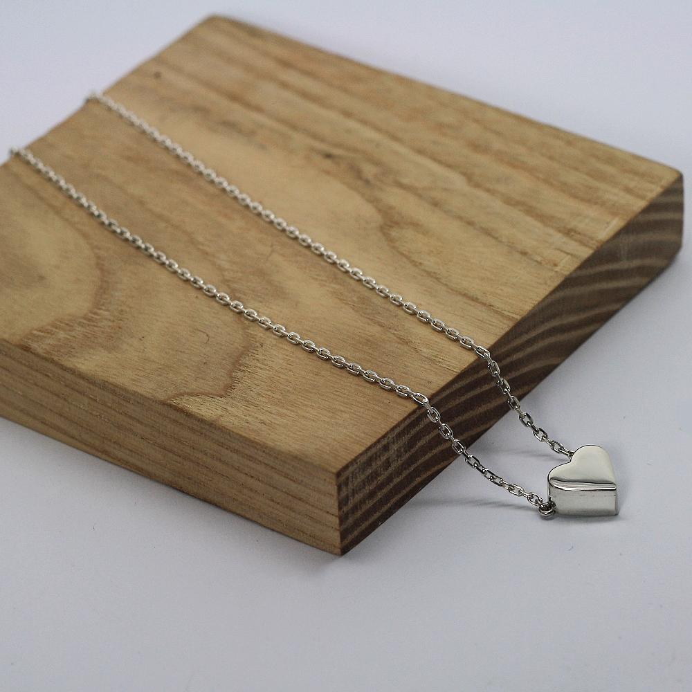 Handmade Sterling Silver Pet Memorial Heart Necklace, handmade by LuLu & Charles Jewellery uk