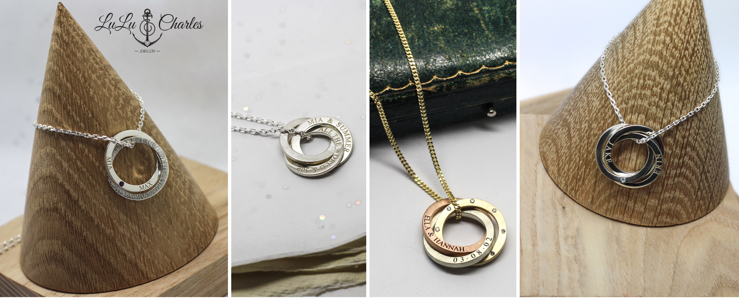 Handmade personalised Sterling Silver Halo Necklace by LuLu & Charles Jewellery