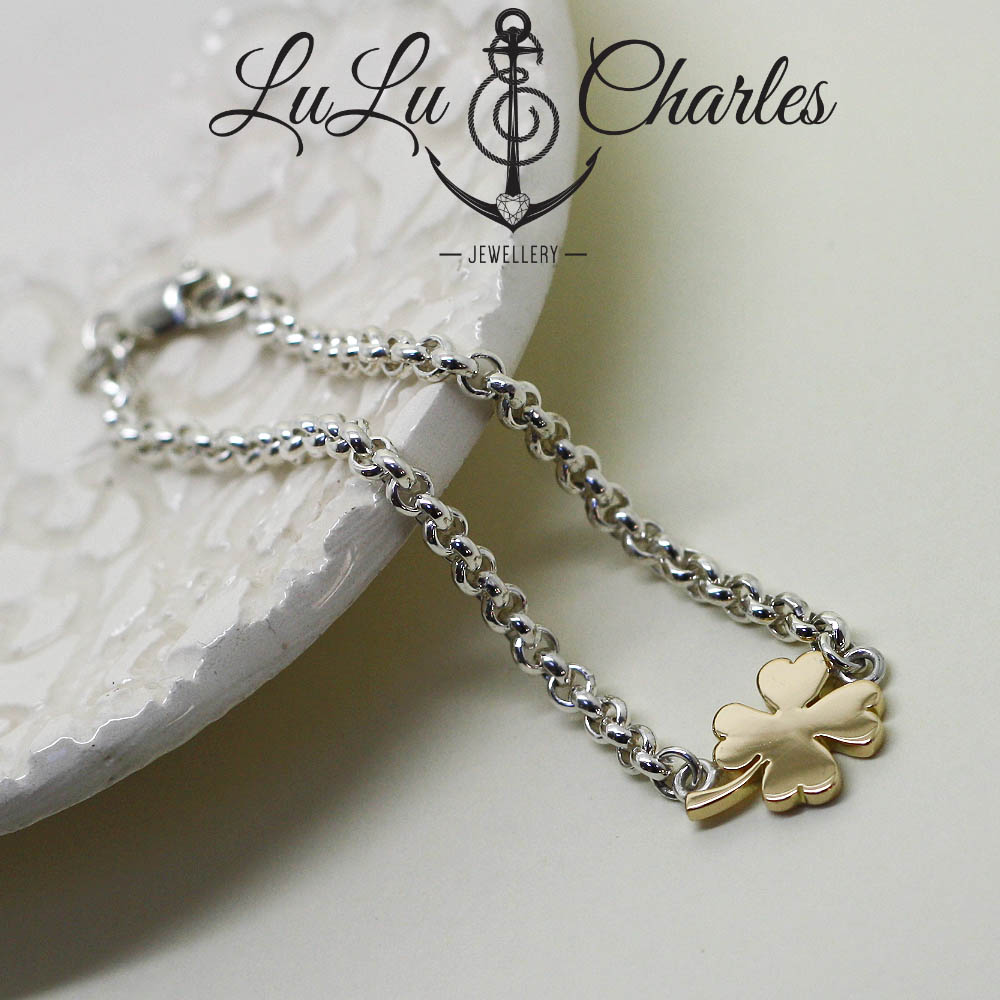 Handmade-18ct-gold-four-leaf-colver-and-silver-bracelet-uk