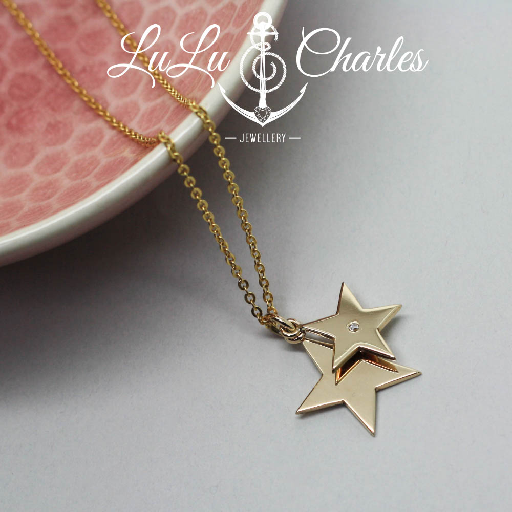Handmade-layered-9ct-gold-star-necklace-remodelled-from-sentimental-gold-jewellery-by-lulu-charles-jewellery-county-durham