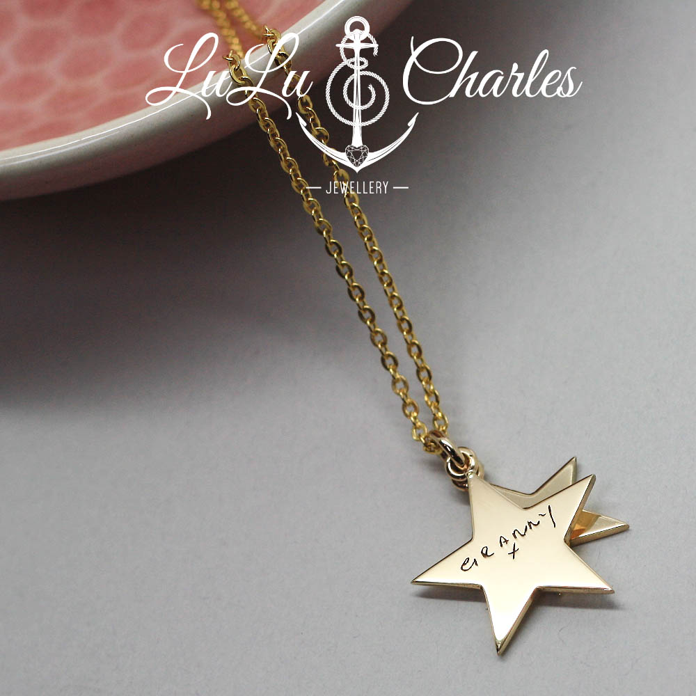 Handmade-9ct-yellow-gold-star-necklace-personalised-with-Granny-loved-ones-handwriting