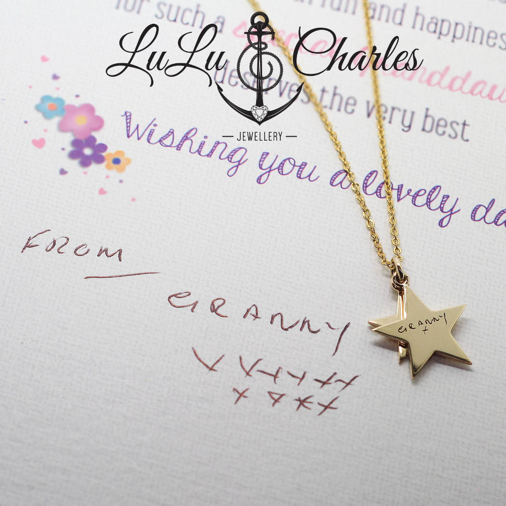 Handmade-9ct-gold-star-necklace-laser-engraved-with-loved-ones-handwriting-by-lulu-and-charles-jewellery-uk