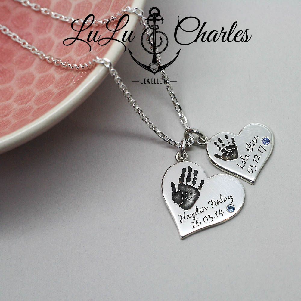 Handmade Personalised Argentium Silver hearts, personalised with Names, Dates of Birth, Handprints & Birthstones by Lulu & Charles Jewellery based in the Northeast of England.