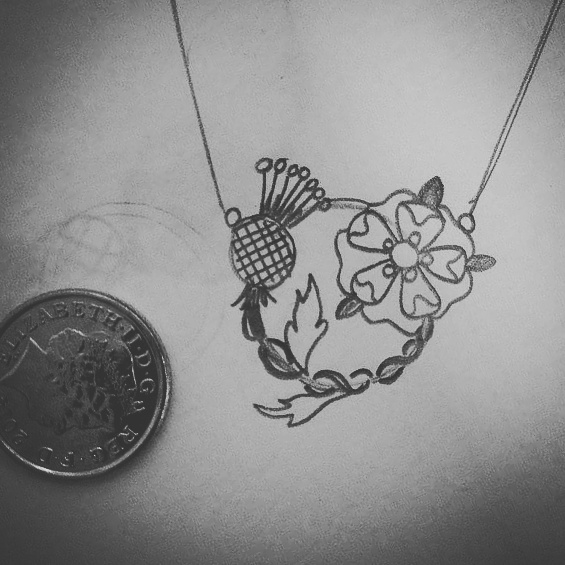 Jewellery design for a Scottish Thistle & English Rose, sterling silver Necklace, handmade by LuLu & Charles Jewellery