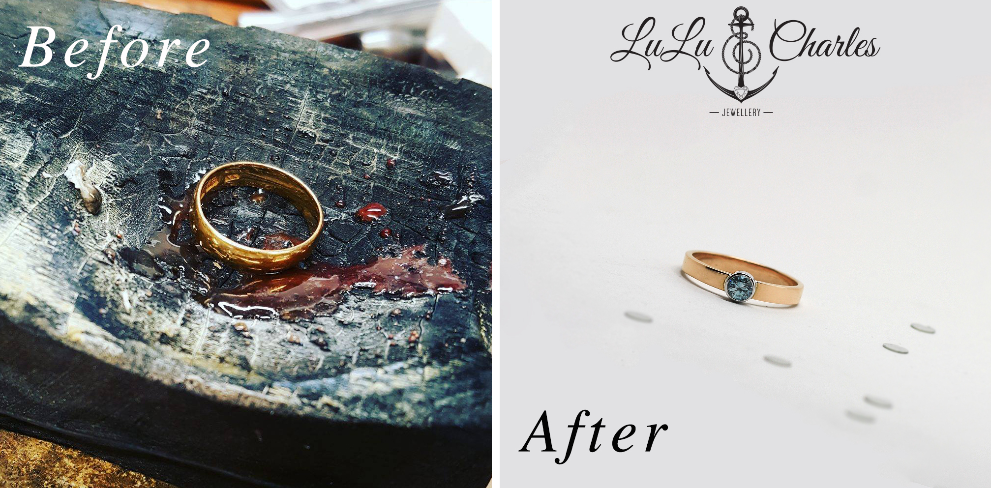 Remodelled sentimental gold jewellery before and after by LuLu & Charles Jewellery, Northeast uk