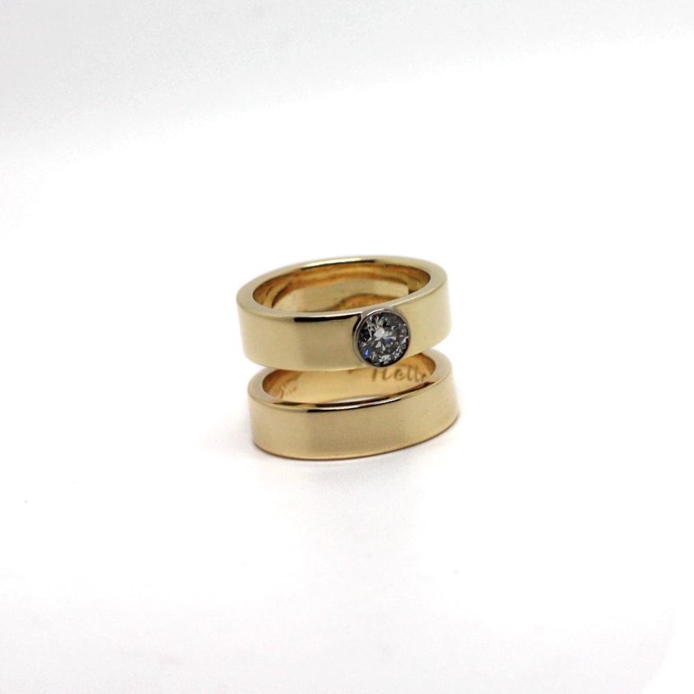 Handmade 9ct Gold Double Band Wedding / Engagement Ring, diamond set by lulu & charles jewellery, Handmade Wedding Ring, made in Newcastle, County Durham,UK.