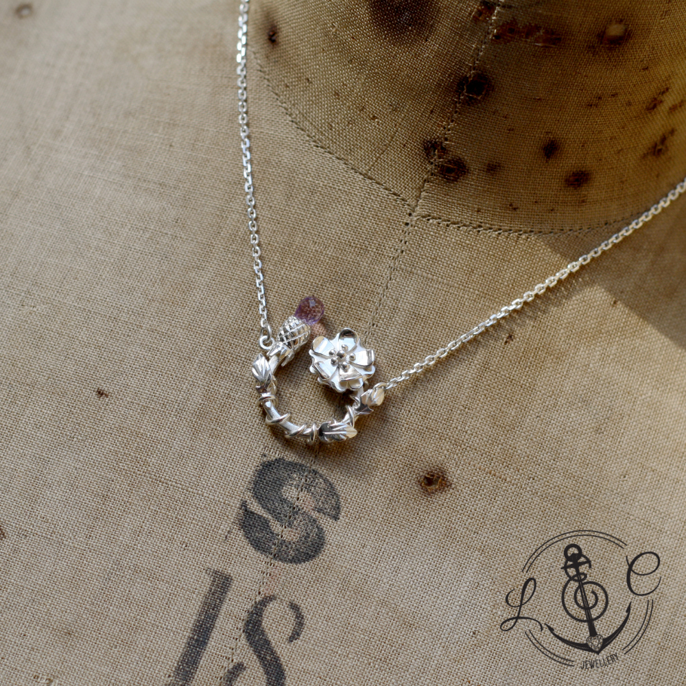 Handmade Sterling Silver Rose & Thistle Necklace, Handmade by LuLu & Charles Jewellery