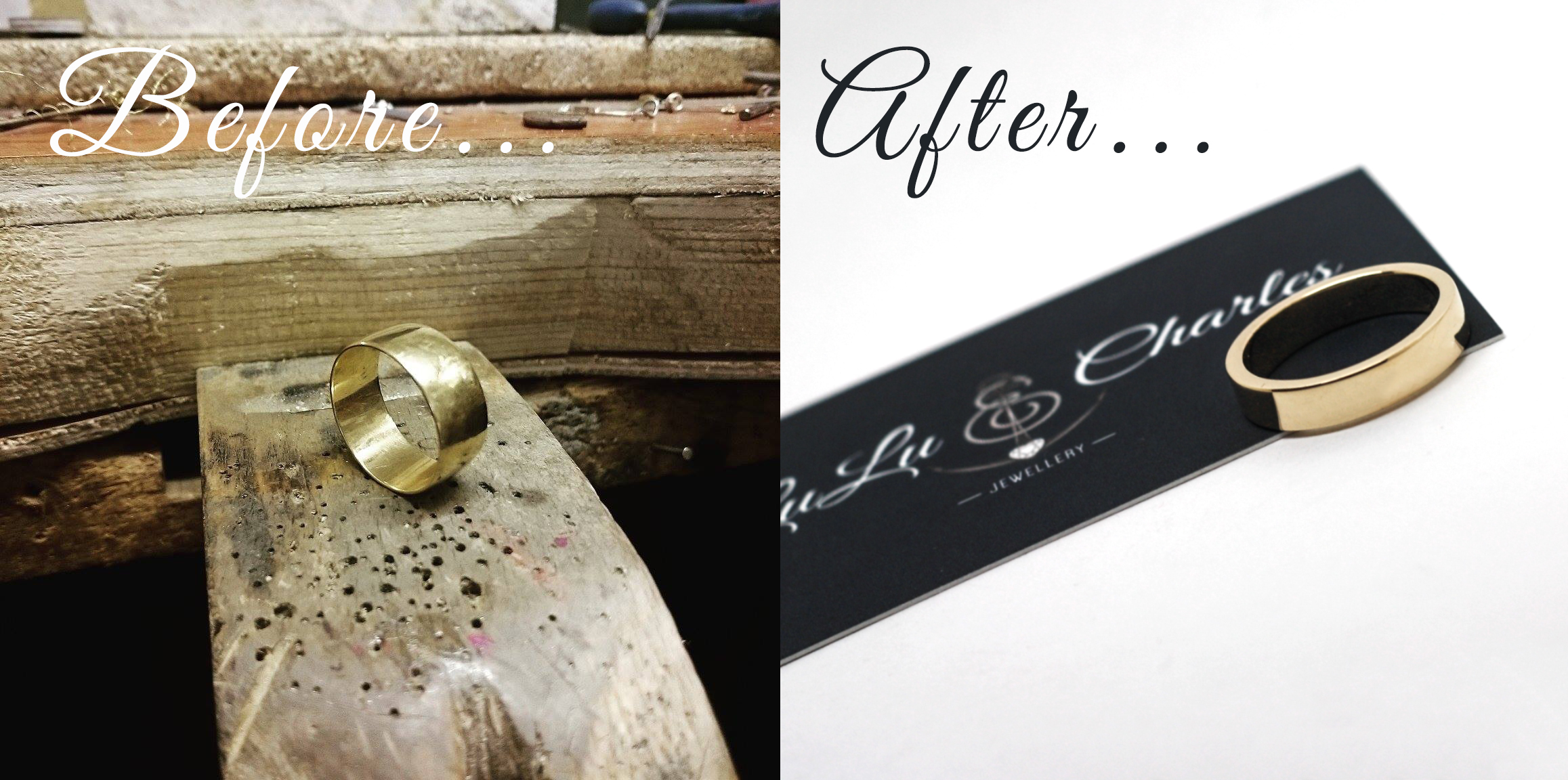 Before & After photos of remodelled 9ct gold wedding band, handmade by lulu & Charles jewellery, based in County Durham, Near Newcastle upon tyne. Bespoke remodelled jewellery.