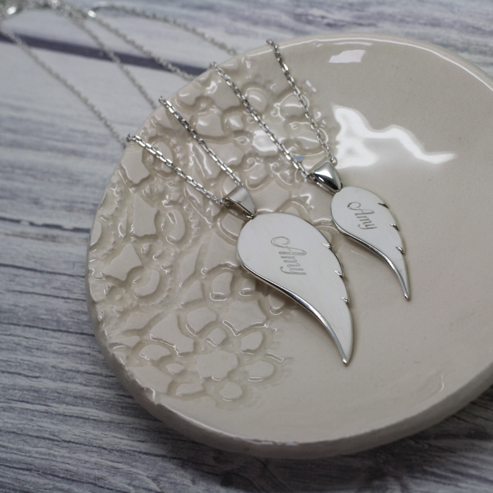 handmade personalised sterling silver angel wing necklace uk, handmade memorial jewellery uk, lulu & charles handmade bespoke jewellery uk county durham, newcastle