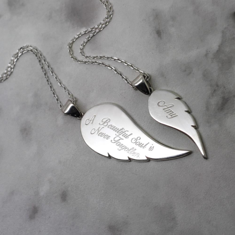 Handmade silver personalised angel wing necklace, contemporary memorial jewellery uk, bespoke handmade jewellery uk by lulu charles jewellery
