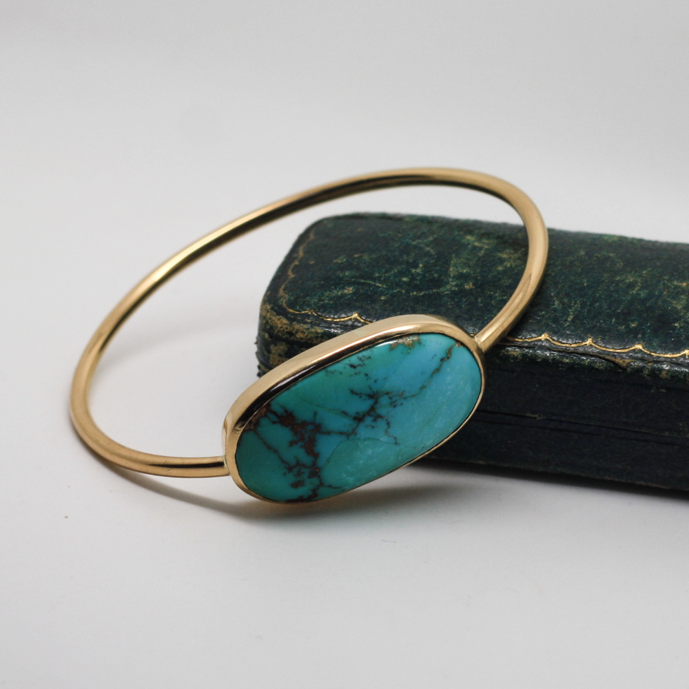 22ct gold & turquoise bangle, handmade and remodelled using customers sentimental gold, By LuLu & Charles Jewellery, servicing County Durham, Newcastle & Northeast england.