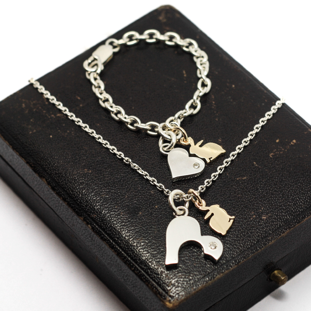9ct gold & silver Mother & daughter jewellery set uk, with handmade 9ct gold bunny rabbit charm pendant & interlocking silver hearts, BY LuLu & Charles Jewellery