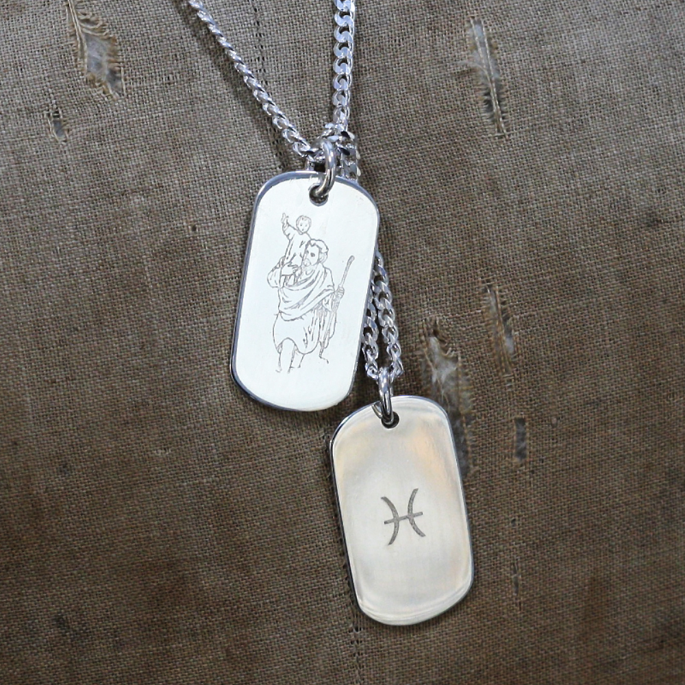 Bespoke Handmade personalised silver dog tag necklace for a 21st birthday gift, personalised with Saint Christopher & Horoscope Sign, handmade by LuLu & Charles Jewellery, Consett County Durham