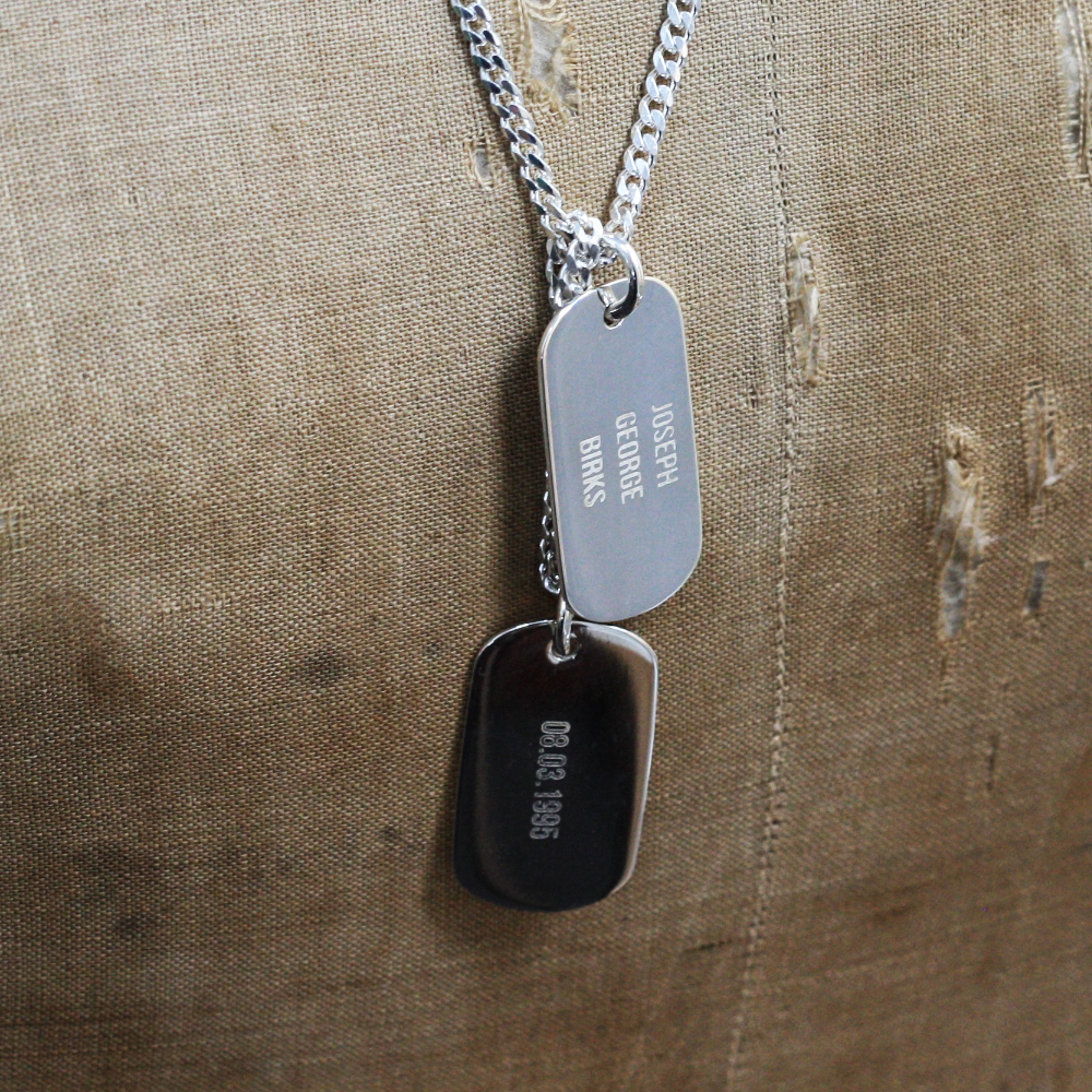 Bespoke Handmade personalised silver dog tag necklace, personalised with name & date, for a 21st birthday gift, handmade by LuLu & Charles Jewellery, Consett County Durham