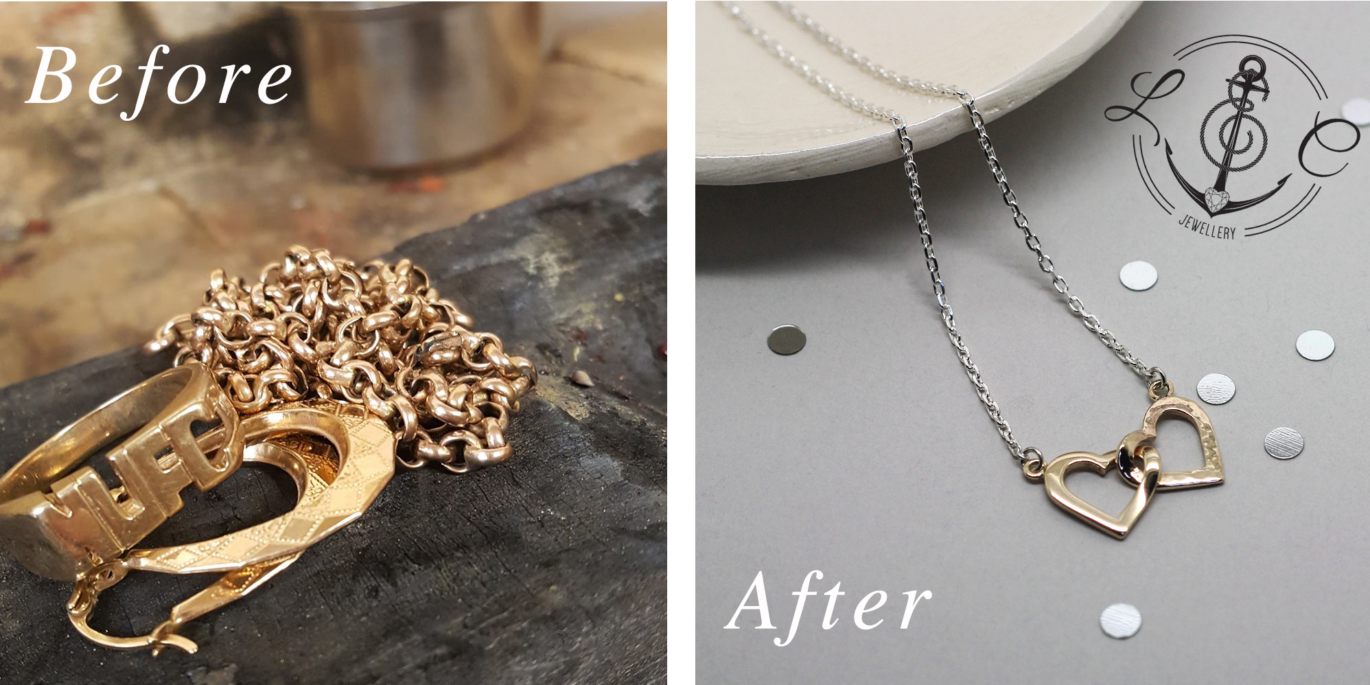 Remodelled gold jewellery service by LuLu & Charles Jewellery uk, handmade 9ct Yellow Gold entwined heart necklace