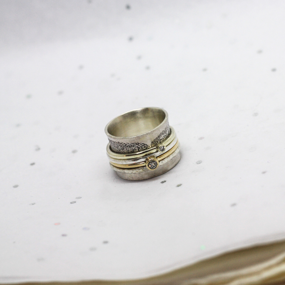 handmade sterling silver & gold meditation ring by Lulu & Charles Jewellery, Newcastle Tyne & Wear, County Durham England. Remodelled gold jewellery uk.