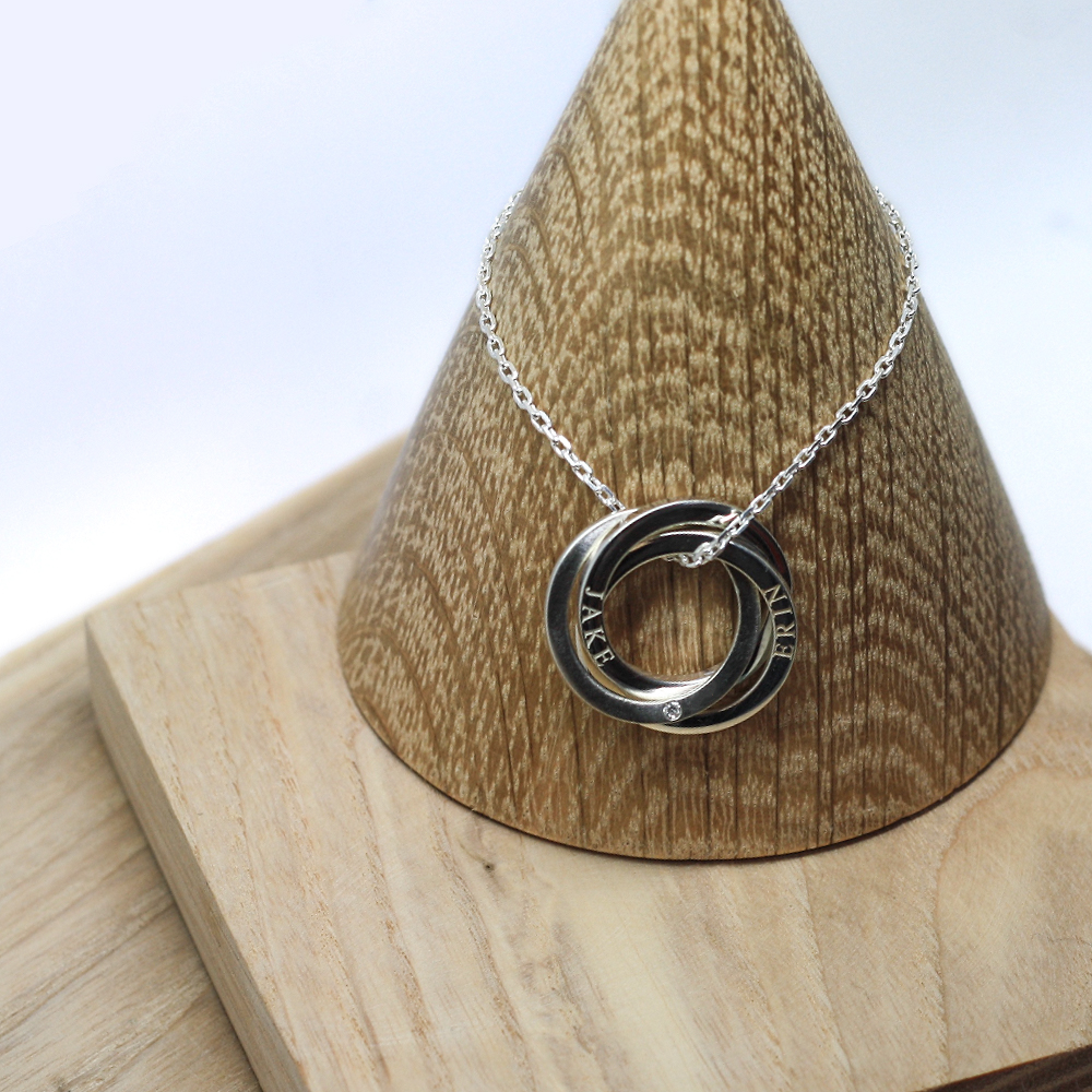 Handmade Sterling Silver Personalised Entwined Halo Necklace, handmade by lulu & charles jewellery