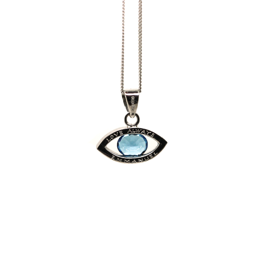Handmade 9ct White Gold Evil Eye Necklace, Hand engraved & set with Swiss Blue Topaz by LuLu & Charles Jewellery