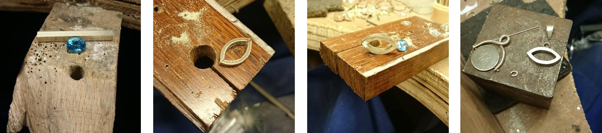 Handmade Jewellery UK, Handmade Gold Evil Eye & Swiss Blue Topaz Necklace