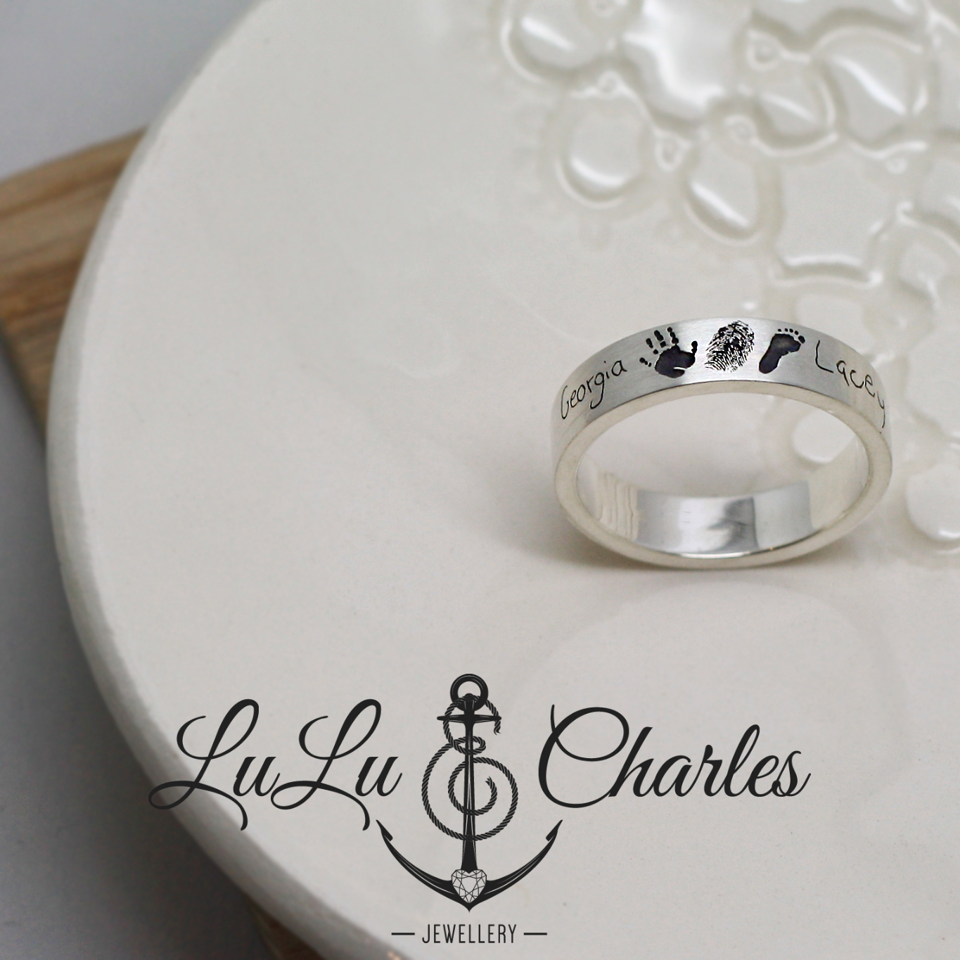 A gorgeous personalised Argentium Silver Ring, personalised with hand written names, a miniaturised handprint, footprint & fingerprint, by LuLu & Charles Jewellery, Handmade Jewellery County Durham, Newcastle, Northumberland UK.