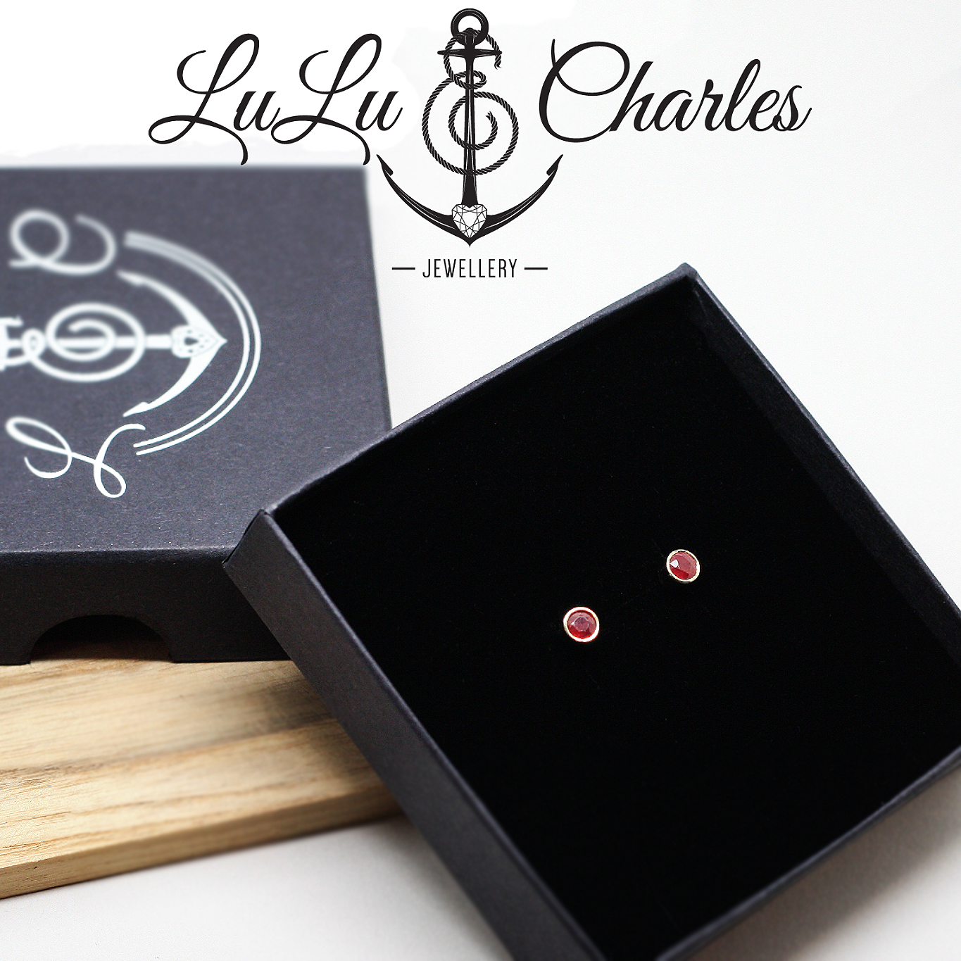 Bespoke Handmade 9ct Gold Memorial Ruby Earrings containing Cremation Ashes, memorial jewellery durham uk, cremation jewellery durham uk