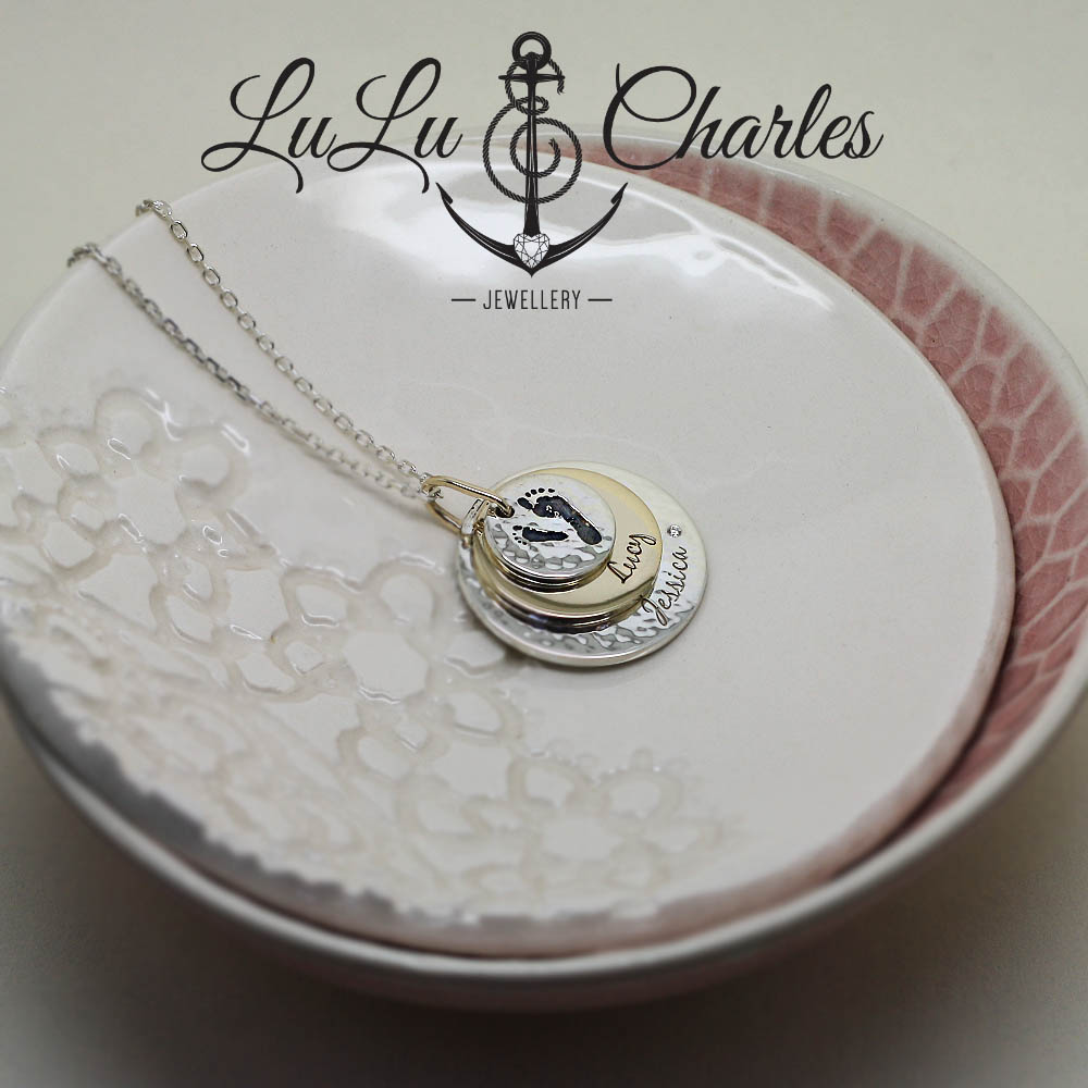Handmade Sterling Silver Disc Necklace, personalised with footprints & names by lulu and charles jewellery uk