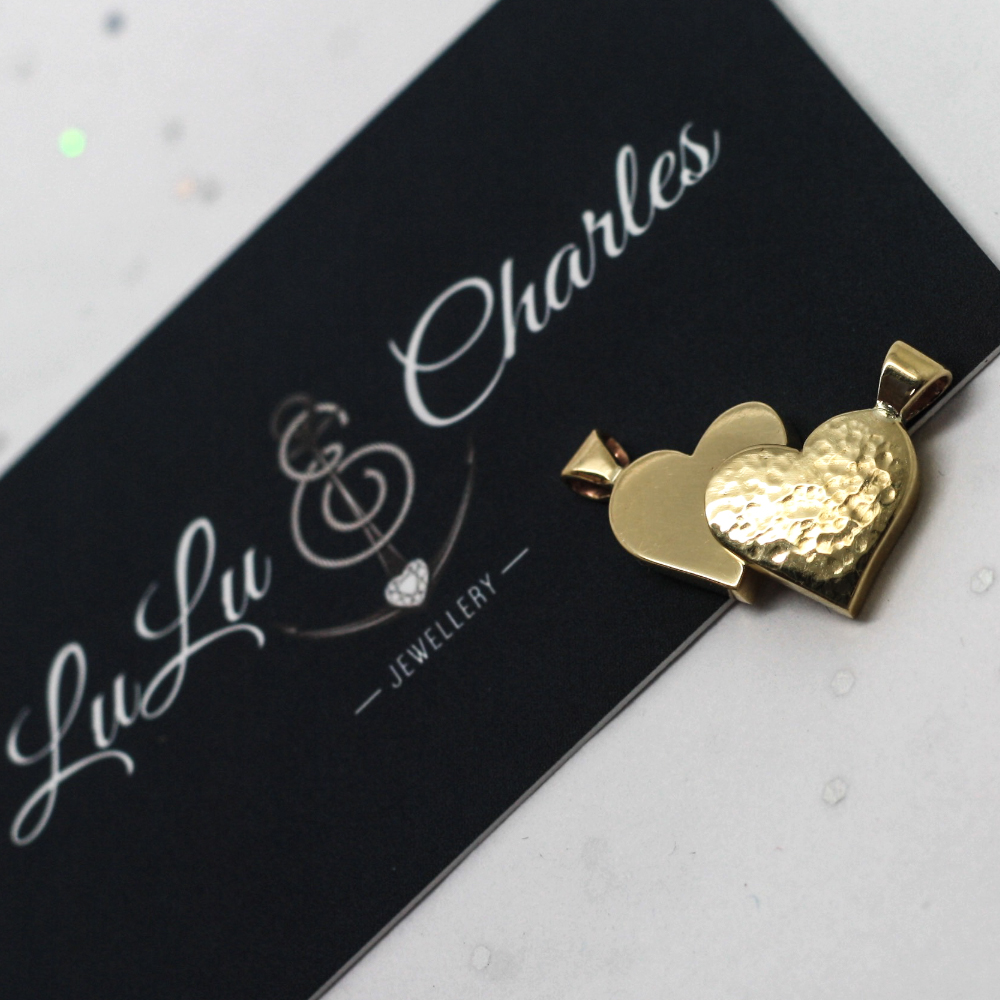 two matching handmade 9ct gold chunky heart pendants, highly polished one side & hammer finished the other