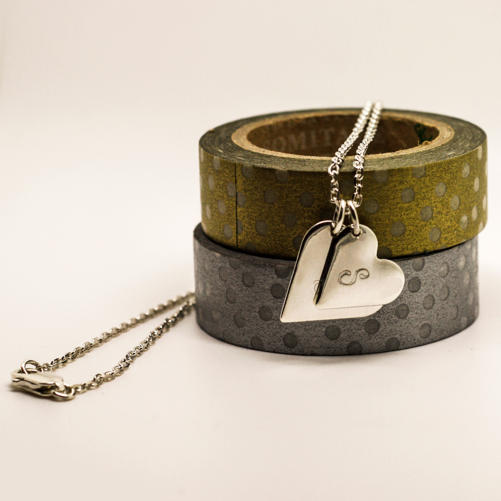 Two Sterling Silver graduated hearts, personalised with initials, handmade by Lulu & Charles Jewellery