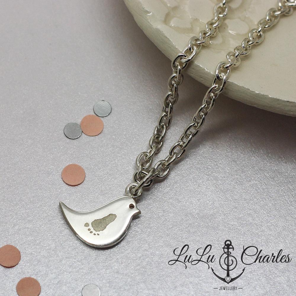 Sterling Silver Bespoke Personalised Handprint & Footprint jewellery by lulu & charles jewellery, handmade personalised jewellery newcastle county durham northumberland