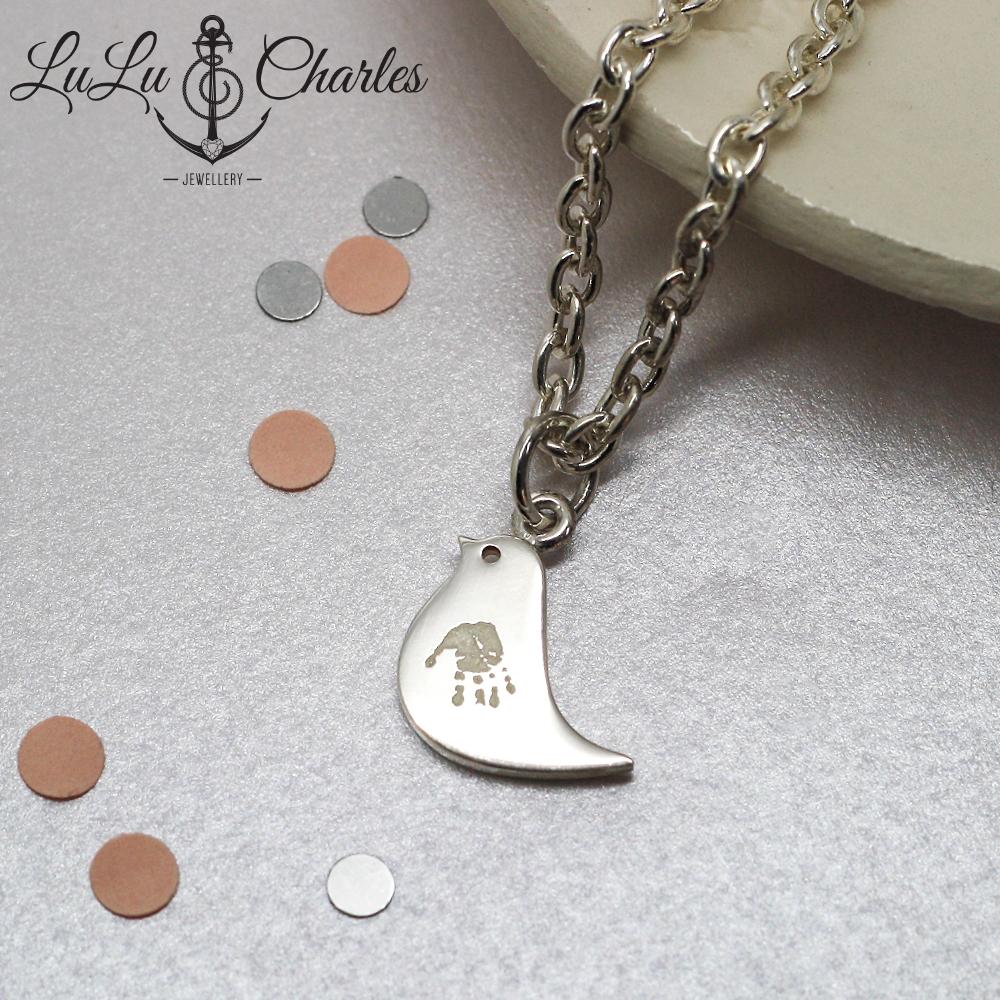 Handmade Bespoke Personalised Sterling Silver Handprint & Footprint Jewellery, by lulu & charles jewellery county durham, England.